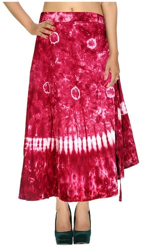 Cotton Tie Dye Pink & White Abstract Pattern Maxi Length Casual Wrap Around Women Skirt By Rajrang