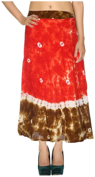 Cotton Tie Dye Red & Green Abstract Pattern Midi Length Casual Wrap Around Women Skirt By Rajrang