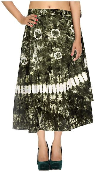 Cotton Tie Dye Green & White Abstract Pattern Maxi Length Casual Wrap Around Women Skirt By Rajrang