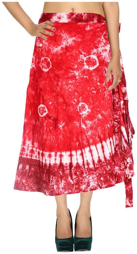 Cotton Tie Dye Red & White Abstract Pattern Maxi Length Casual Wrap Around Women Skirt By Rajrang