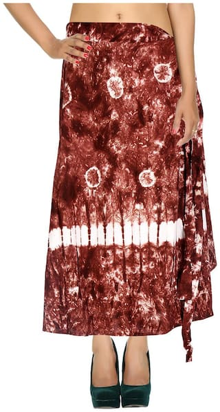 Cotton Tie Dye Brown & White Abstract Pattern Maxi Length Casual Wrap Around Women Skirt By Rajrang