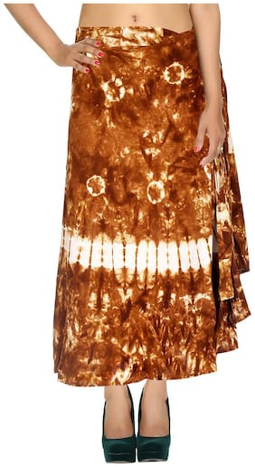 Cotton Tie Dye Brown Abstract Pattern Maxi Length Casual Wrap Around Women Skirt By Rajrang