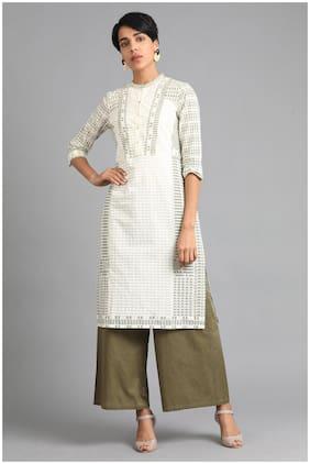 W Women Cotton Striped Straight Kurta - Green