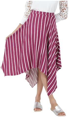 Cover Story Striped Wrap skirt Midi Skirt - Purple