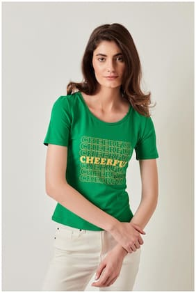 Cover Story Women Green Regular fit Round neck Cotton T shirt