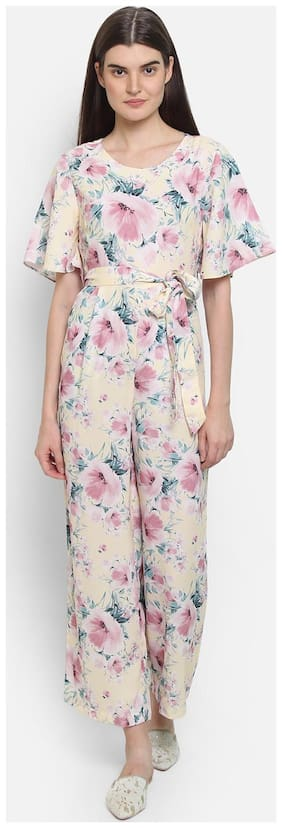 Cover Story Printed Jumpsuit - White