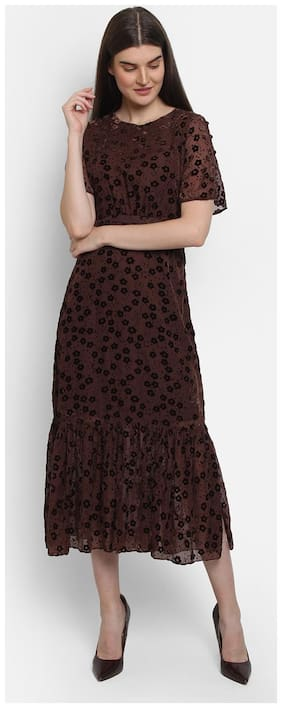 Cover Story Brown Embroidered Maxi dress