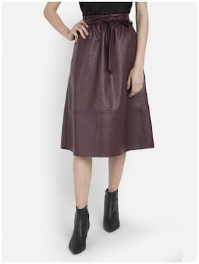 Cover Story Solid Bodycon skirt Midi Skirt - Maroon