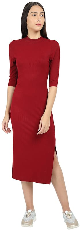 Cover Story Red Solid Bodycon dress
