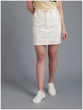 Cover Story Embroidered Bodycon skirt Mini Skirt - White