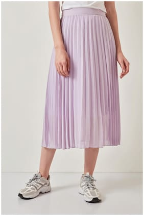 Cover Story Solid Wrap skirt Midi Skirt - Purple