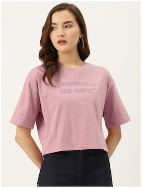 Cover Story Women Pink Regular fit Round neck Cotton T shirt