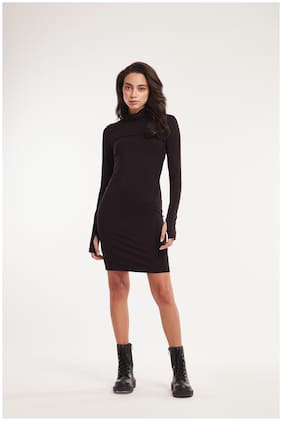 Cover Story Black Solid Bodycon dress