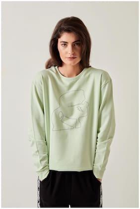 Cover Story Women Printed Sweatshirt - Green