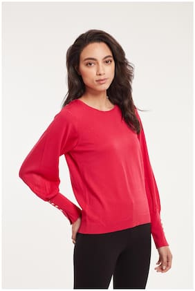 Cover Story Women Solid Pullover - Pink