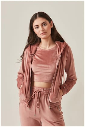Cover Story Women Solid Hoodie - Pink
