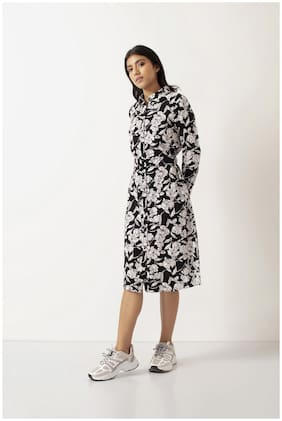 Cover Story Black Floral Shirt dress