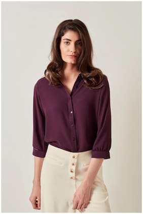 Cover Story Women Purple Solid Regular Fit Shirt