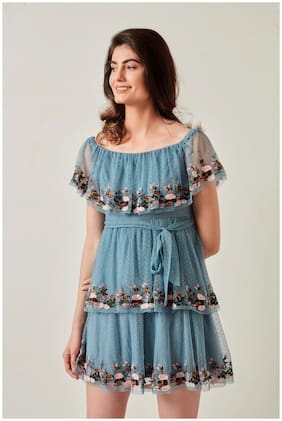 Cover Story Blue Embroidered Flared dress