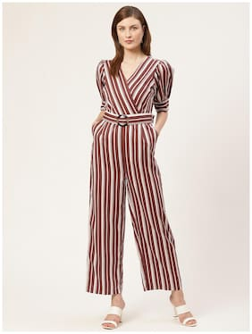 Cover Story Striped Jumpsuit - Brown