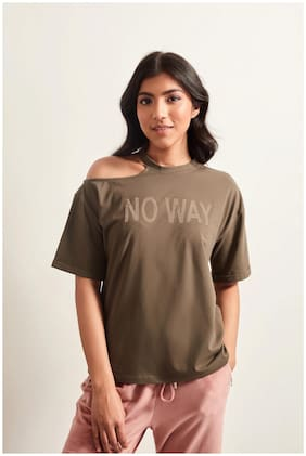 Cover Story Women Cotton Printed T Shirt Olive