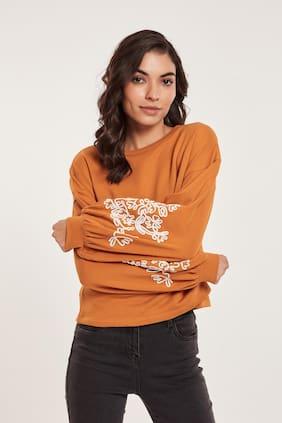 Cover Story Women Embroidered Sweatshirt - Mustard