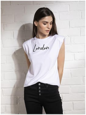 Cover Story Women White Regular fit Round neck Cotton T shirt