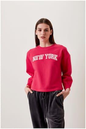 Cover Story Women Printed Sweatshirt - Pink