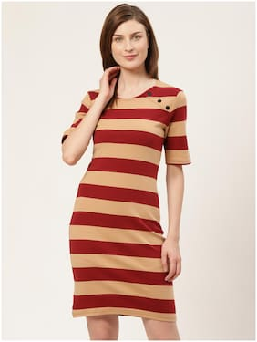 Cover Story Maroon Striped Bodycon dress