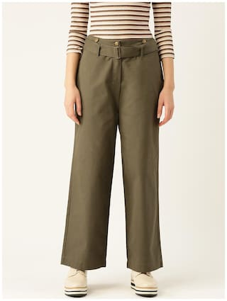 Cover Story Women Cotton Solid Olive Cullotes