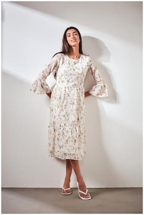 Cover Story Polyester White Floral A Line Dress  For Women