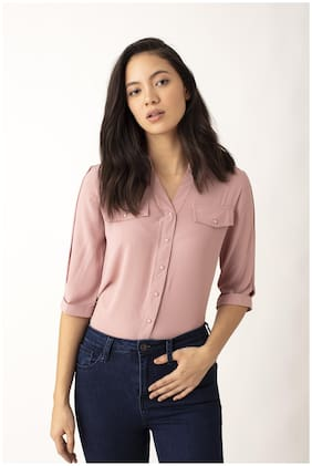 Cover Story Women Solid Regular top - Pink