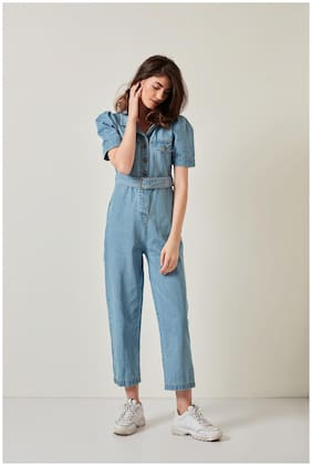 Cover Story Solid Jumpsuit - Blue