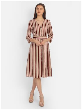 Cover Story Wine & Beige Striped Shirt dress