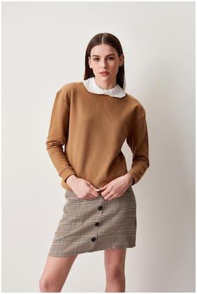Cover Story Women Solid Sweatshirt - Brown