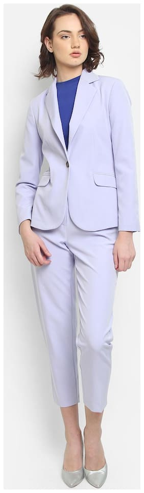 Cover Story Women Solid Regular FIt Blazer - Purple