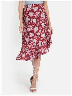 Cover Story Floral Wrap skirt Midi Skirt - Wine