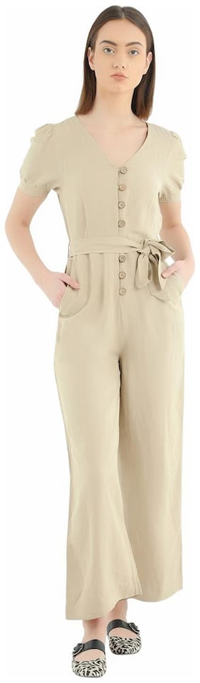 Cover Story Solid Jumpsuit - Beige