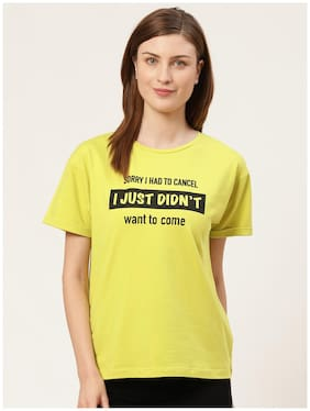 Cover Story Women Yellow Regular fit Round neck Cotton T shirt