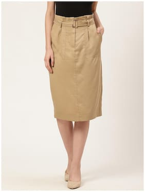 Cover Story Solid A-line skirt Midi Skirt - Beige