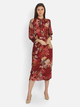 Cover Story Maroon Floral Maxi dress
