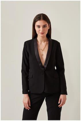 Cover Story Women Solid Regular FIt Blazer - Black