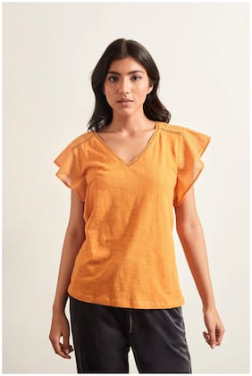 Cover Story Women Yellow Regular fit V neck Cotton T shirt
