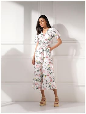 Cover Story Floral Jumpsuit - White