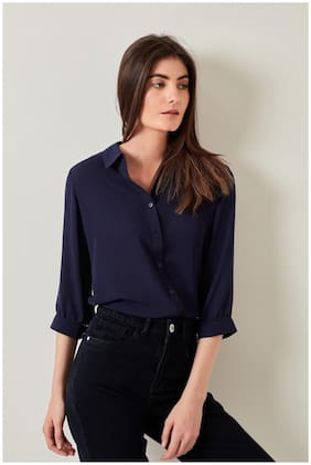 Cover Story Women Navy Blue Solid Regular Fit Shirt