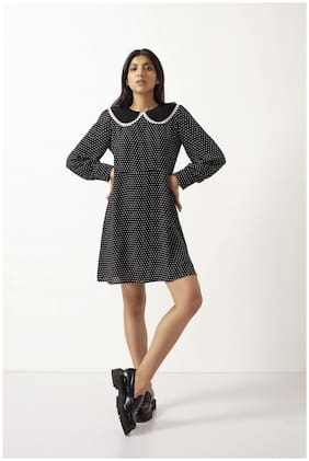 Cover Story Women Black Polyester Polka Dots A Line Dress