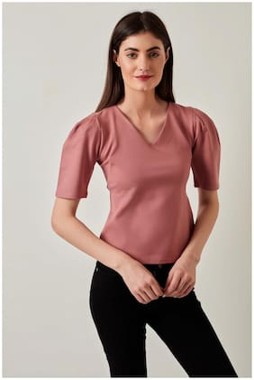Cover Story Women Pink Regular fit V neck Viscose rayon T shirt