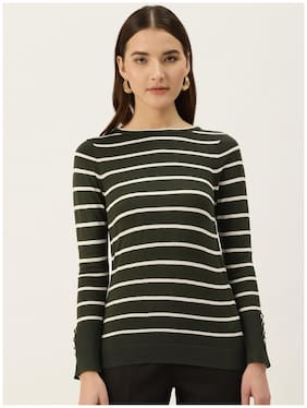 Cover Story Women Striped Sweater - Olive