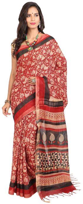 Craftghar Original Chanderi Cotton Red-Beige Saree With Zari Border and Blouse piece