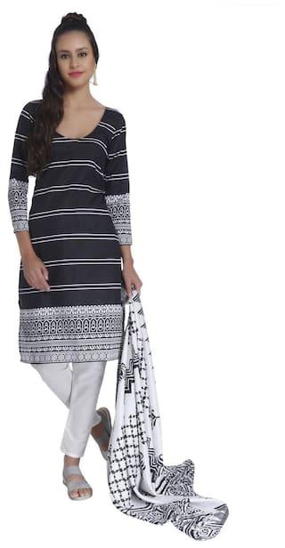 b3c5566b4b Buy CraftsVilla Women Silk Printed Straight Kurta - Black Online ...